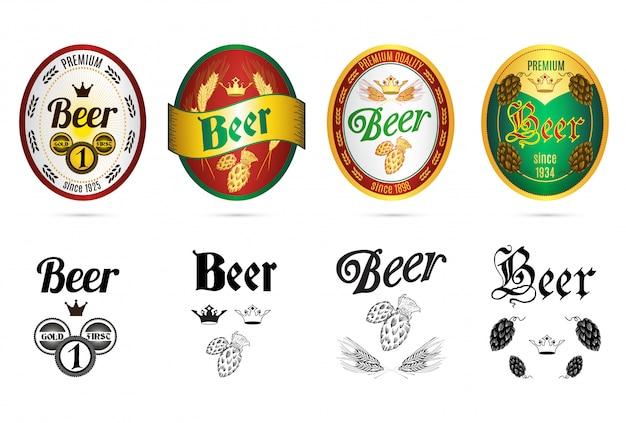 Conjunto de ícones de rótulos de marcas populares de cerveja