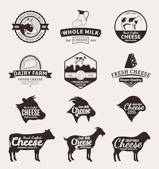 Conjunto de ícones de rótulos de queijo e elementos de design