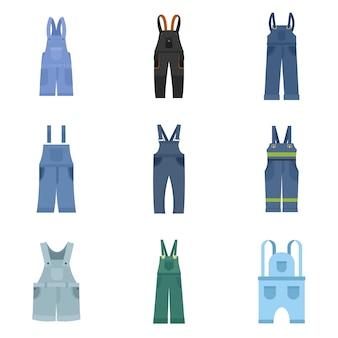 Conjunto de ícones de roupa de trabalho de macacão