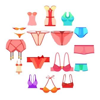 Conjunto de ícones de roupa interior cor, estilo cartoon