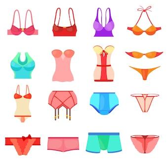 Conjunto de ícones de roupa interior cor