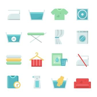 Conjunto de ícones de roupa para lavar roupa e lavar