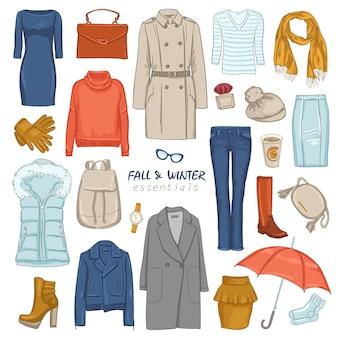 Conjunto de ícones de roupas da moda