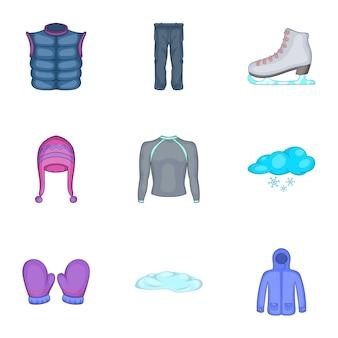 Conjunto de ícones de roupas de inverno, estilo cartoon
