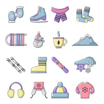 Conjunto de ícones de roupas de inverno