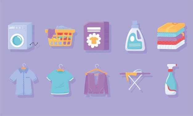 Conjunto de ícones de roupas de lavanderia