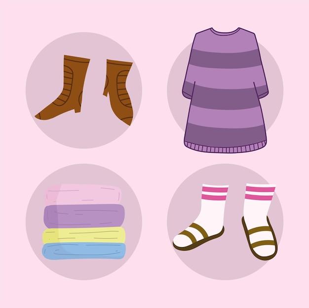 Conjunto de ícones de roupas femininas
