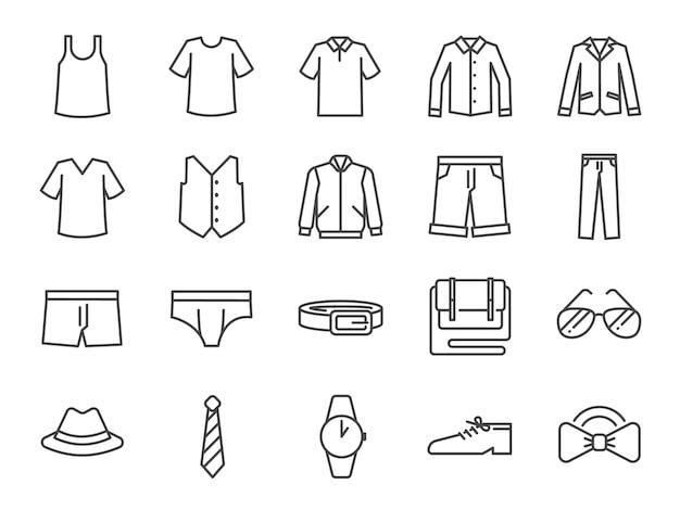 Conjunto de ícones de roupas masculinas.
