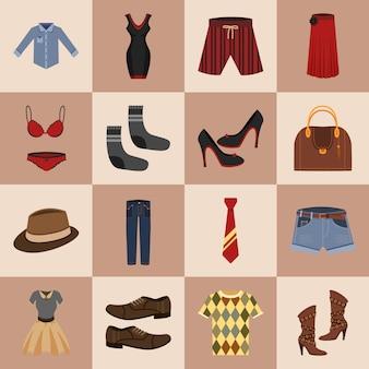 Conjunto de ícones de roupas