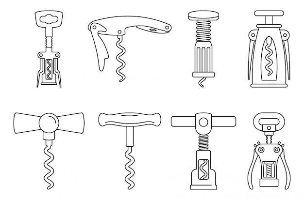 Conjunto de ícones de saca-rolhas em casa