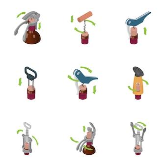 Conjunto de ícones de saca-rolhas, estilo isométrico