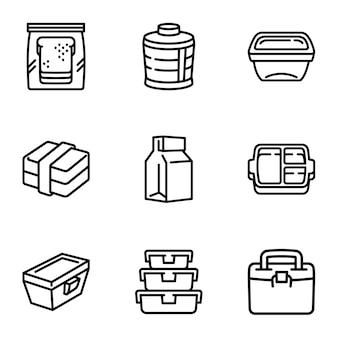 Conjunto de ícones de saco de almoço, estilo de estrutura de tópicos