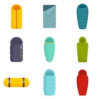 Conjunto de ícones de saco de dormir. conjunto plano de ícones de vetor de saco de dormir isolado no fundo branco