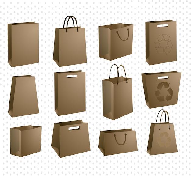 Conjunto de ícones de sacola de compras