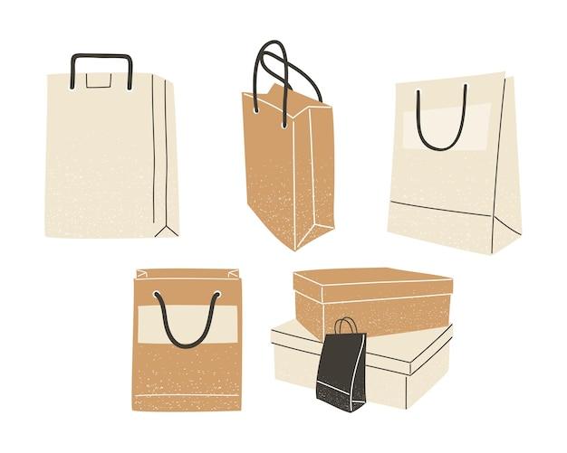 Conjunto de ícones de sacolas e caixas de compras do tema de comércio e mercado. ilustração vetorial
