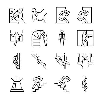 Conjunto de ícones de saída de emergência.