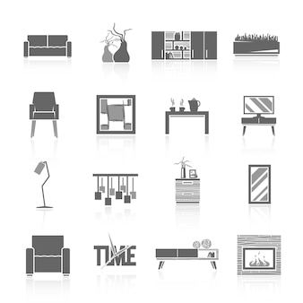 Conjunto de ícones de sala de estar