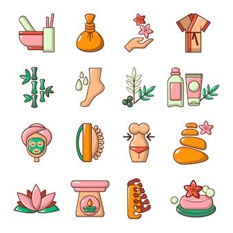 Conjunto de ícones de salão de beleza spa