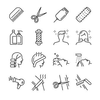 Conjunto de ícones de salão de cabeleireiro.