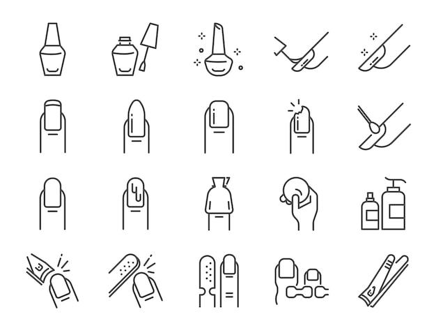 Conjunto de ícones de salão de unhas polonês.