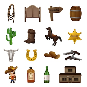 Conjunto de ícones de salão, estilo cartoon