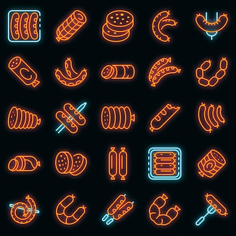 Conjunto de ícones de salsicha. conjunto de contorno de ícones de vetor de salsicha cor de néon no preto