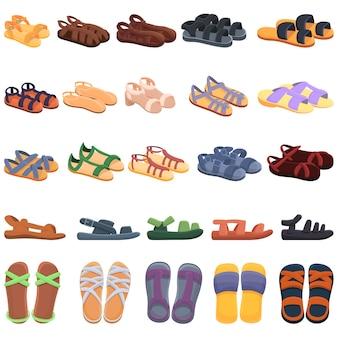Conjunto de ícones de sandálias. ícones de sandálias