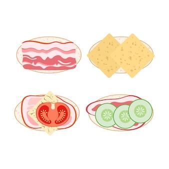 Conjunto de ícones de sanduíches em estilo simples