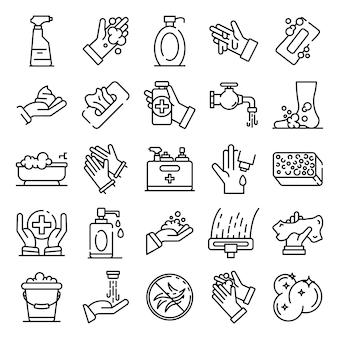 Conjunto de ícones de saneamento, estilo de estrutura de tópicos