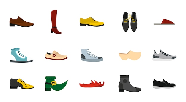 Conjunto de ícones de sapatos. conjunto plano de coleção de ícones de vetor de sapatos isolado