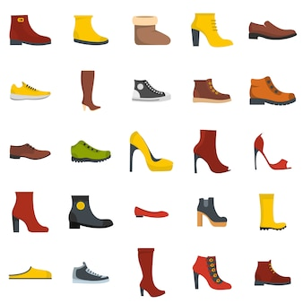 Conjunto de ícones de sapatos de calçado isolado