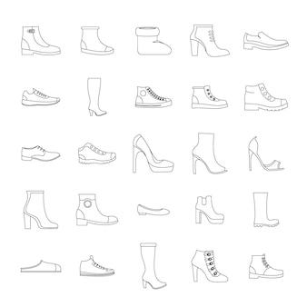 Conjunto de ícones de sapatos de calçado