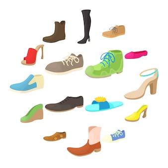 Conjunto de ícones de sapatos, estilo cartoon