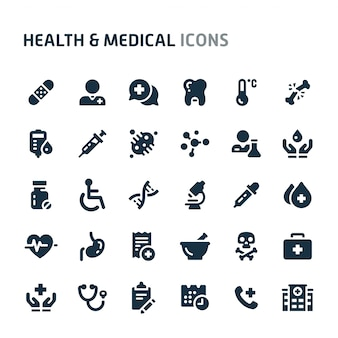 Conjunto de ícones de saúde e medicina. série de ícone preto fillio.