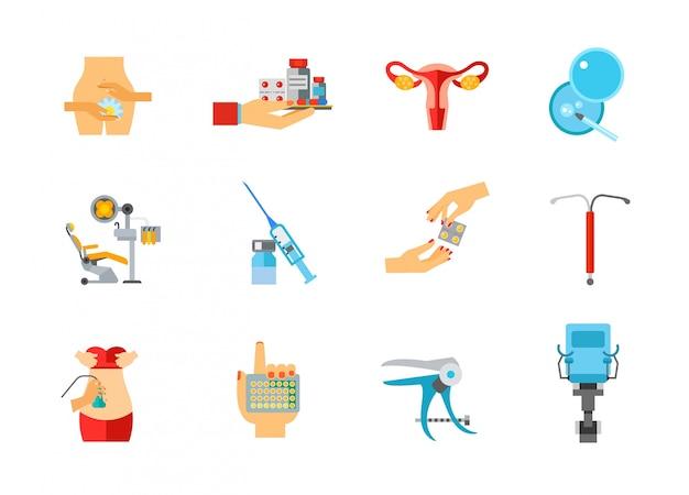 Conjunto de ícones de saúde feminina