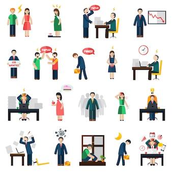 Conjunto de ícones de saúde mental de depressão stress