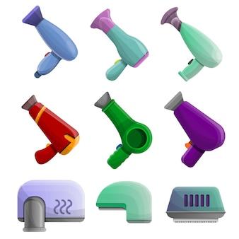Conjunto de ícones de secador. conjunto de desenhos animados de ícones de vetor de secador para web design