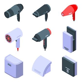 Conjunto de ícones de secador, estilo isométrico