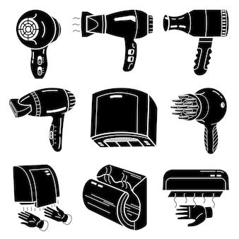 Conjunto de ícones de secador, estilo simples