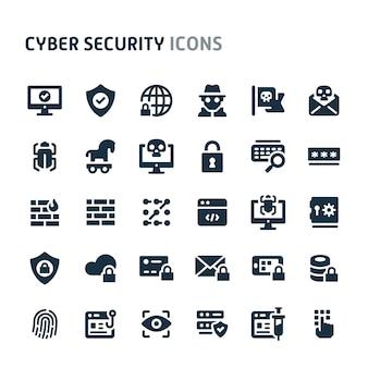 Conjunto de ícones de segurança cibernética. série de ícone preto fillio.