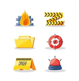 Conjunto de ícones de segurança cibernética