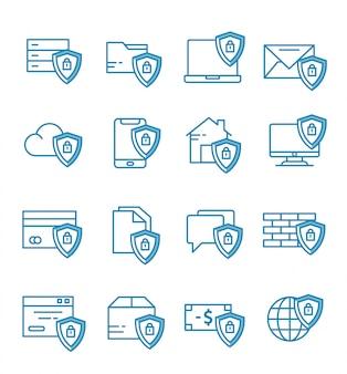 Conjunto de ícones de segurança com estilo de estrutura de tópicos