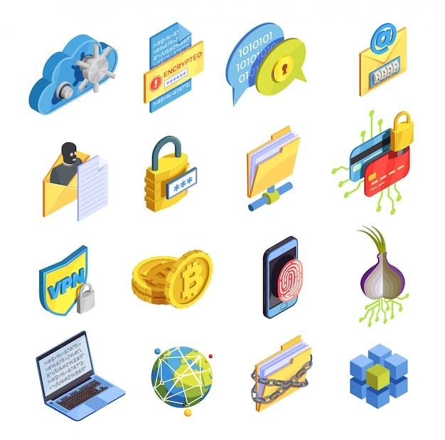 Conjunto de ícones de segurança da internet