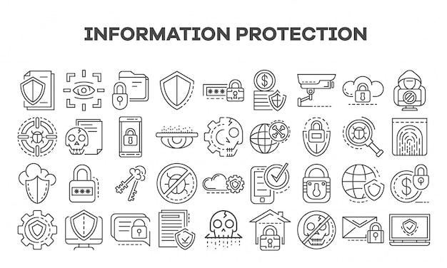 Conjunto de ícones de segurança de computador. conjunto de contorno de ícones de vetor de segurança de computador