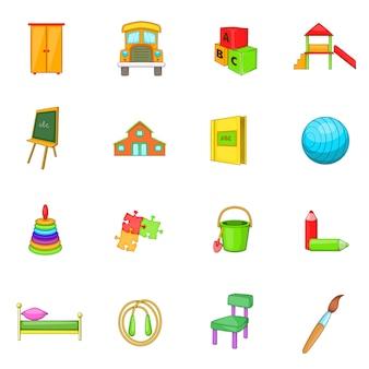 Conjunto de ícones de segurança de jardim de infância