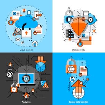 Conjunto de ícones de segurança e armazenamento de dados