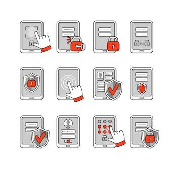 Conjunto de ícones de segurança móvel. conceito de segurança do smartphone. chave de senha e bloqueio no smartphone. sinais para proteger o telefone.