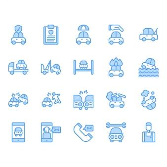Conjunto de ícones de seguro de carro