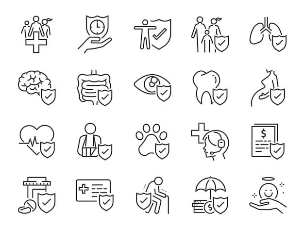 Conjunto de ícones de seguro de saúde.