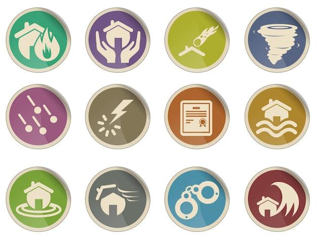 Conjunto de ícones de seguro residencial
